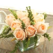 米子家居 MIZ 米子家居 仿真玫瑰花玻璃方樽 摆件客厅餐桌玻璃花艺摆设饰品 装饰花艺 淡橘色 淡橘色