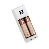 沣标 FB 沣标(FB) 两槽迷你充电套装 USB充电器配AA/5号1000mAh*2节镍氢可充电电池 通用7号电池