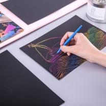 得力 deli 得力(deli)10张/18*26cm炫彩学生刮画纸 手工绘画 创意DIY玩具74807