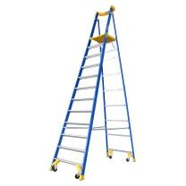 稳耐 稳耐(werner)P170-12C FG 玻璃钢平台梯4.6米工业级绝缘人字梯带轮自锁防滑踏板十二步折叠工程梯 P170-12C FG 4.6米
