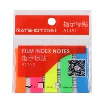 欧标 欧标(MATE-IST)荧光便签纸 便利签 留言纸 N次贴便签 半透明5色 100张12*45mm A1151 荧光半透明 五色