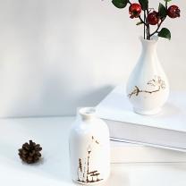 墨斗鱼 墨斗鱼陶瓷花瓶折口瓶7819 客厅餐桌床头柜电视柜茶几花瓶摆件塑料花装饰花瓶摆设简约小清新绿植插花瓶 E折口瓶(一个)