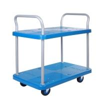 连和 连和(uni-silent)PLA200Y-T2-D(蓝色)双层静音四轮平板手推车仓储拉货车825*500MM承载200KG