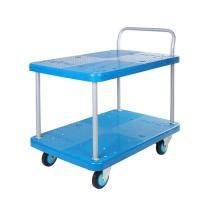 连和 连和(uni-silent)PLA300Y-T2(蓝色)双层平板小推车手推车拉货车仓库物料车90*60CM承载300KG